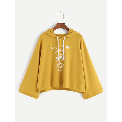 Yellow Coffee Cup Print Hooded Sweatshirt