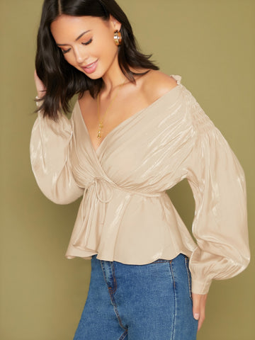 Off Shoulder Gathered Sleeve Metallic Blouse