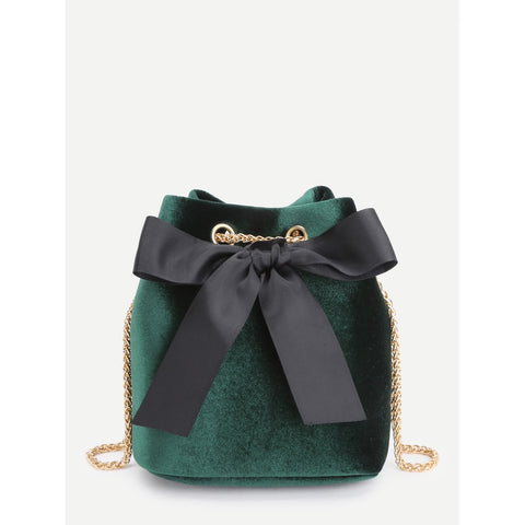 Bow Tie Front Velvet Bucket Chain Bag Green