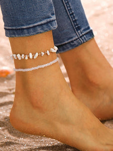 Bead & Stone Decor Anklet 2pcs
