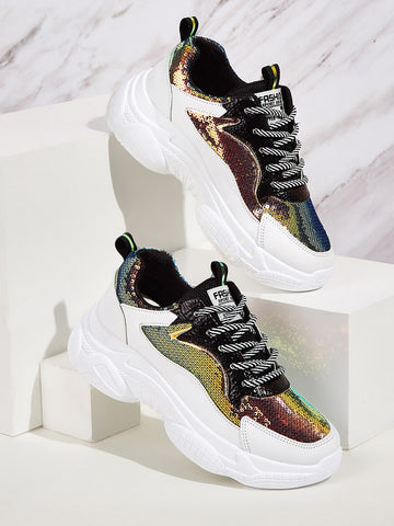 Sequins Decor Chunky Sole Trainers