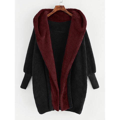 Contrast Hooded Plush Coat