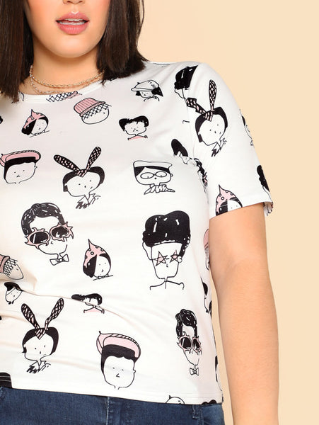 Allover Cartoon Portrait Print T-shirt MULTICOLOR - Anabella's