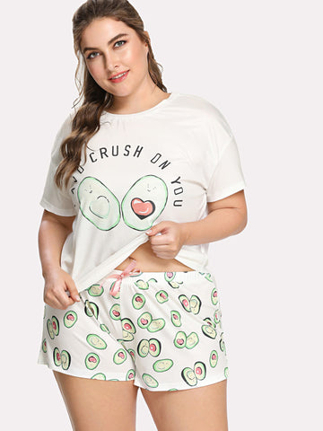 Avocado Print Top And Bow Front Shorts Pajama Set PLUS - Anabella's
