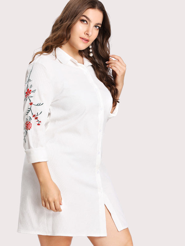 Embroidery Detail Shirt Dress - Anabella's