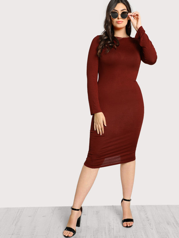 Long Sleeve Basic Dress - Anabella's