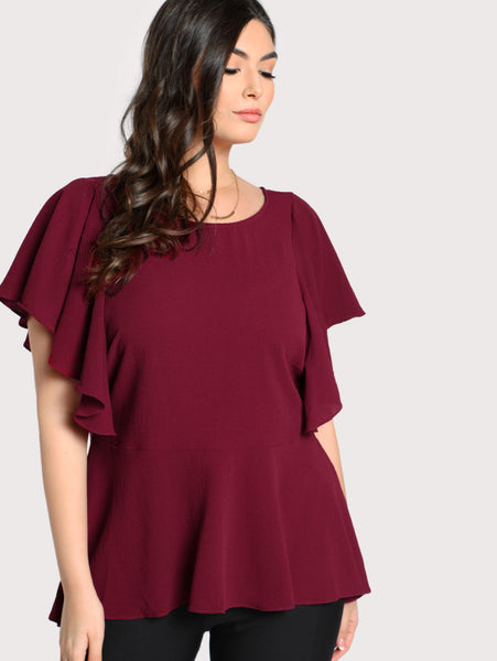 Ruffle Sleeve Zip Up Top - Anabella's