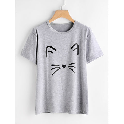 Cat Print Heathered Knit Tee