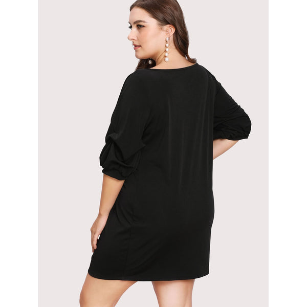 Bishop Gathered Sleeve Solid Dress BLACK - Anabella's