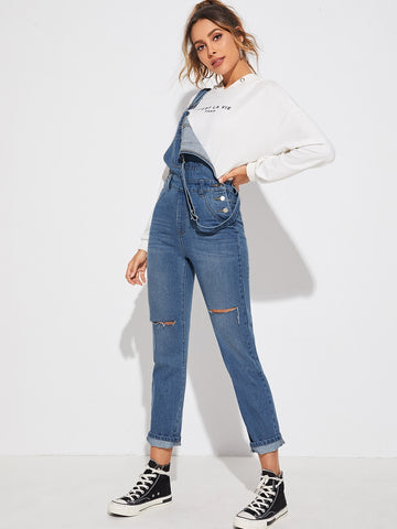 Ripped Detail Dungaree Jumpsuit