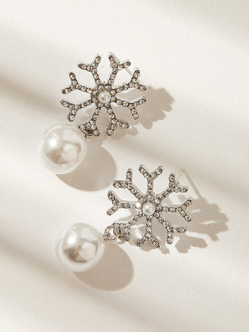 Rhinestone & Pearl Decor Snowflake Drop Earrings 1pair