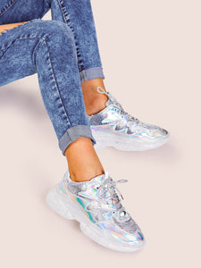 Iridescent Lace-up Front Chunky Sole Trainers