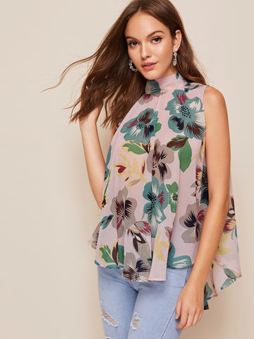 Floral High Low Hem Tie Back Top
