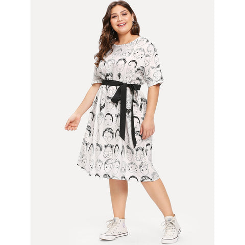 Plus Figure Print Belted Dress