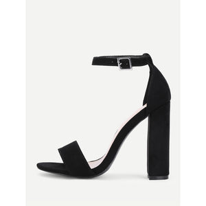 Two Part Ankle Strap Block Heeled Pumps Black