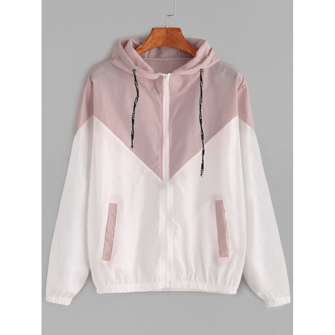 Hooded Drawstring Cut And Sew Jacket Pink