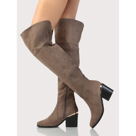 Over The Knee Faux Suede Boots TAUPE