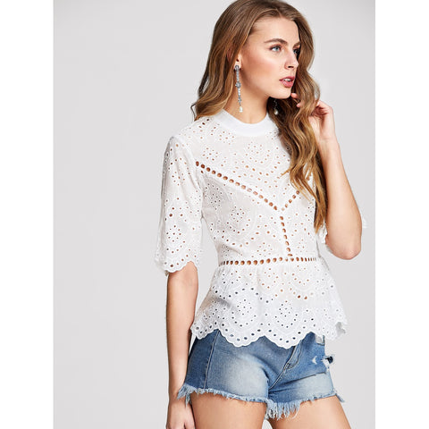Ruffle Hem Eyelet Embroidered Top White