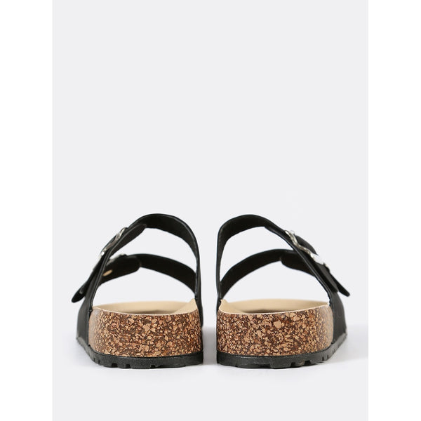 Double Buckled Strap Cork Footbed Sandal BLACK - Anabella's