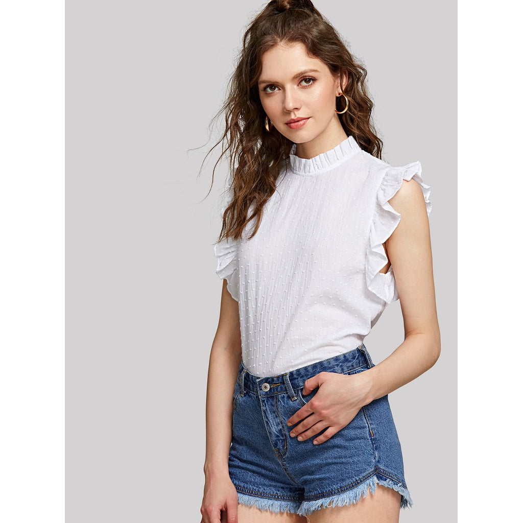dae8b9936fa37 ... Ruffle Trim Sleeveless Dot Jacquard Top White ...