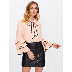 Bow Neck Wave Lace Trim Layered Sleeve Blouse