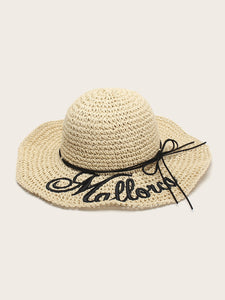 Letter Embroidery Floppy Hat