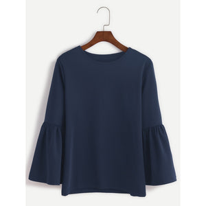 Round Neck Bell Sleeve T-shirt Navy