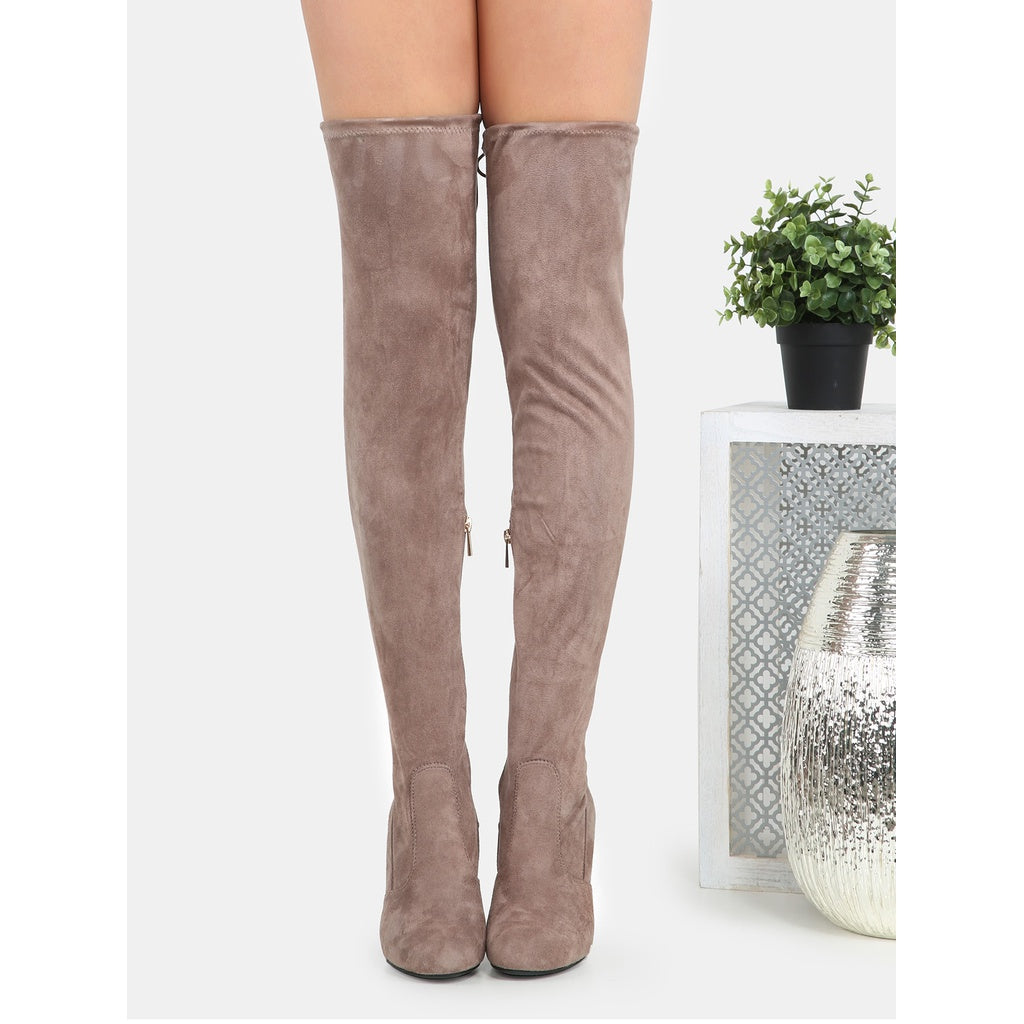 7fa09a2aa87 ... Tie Back Thigh High Suede Boots TAUPE ...