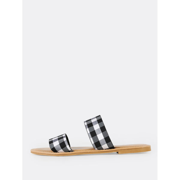 Gingham Doulbe Strap Slide Sandals BLACK - Anabella's