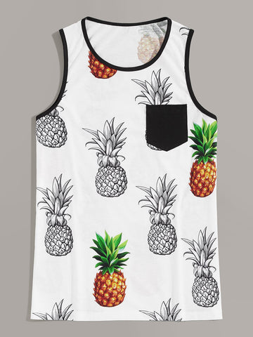Men Contrast Pocket Pineapple Print Tank Top