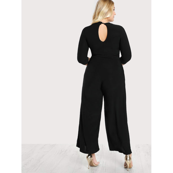 Double Keyhole Belted Palazzo Jumpsuit BLACK - Anabella's