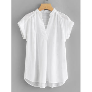Pleated Detail Curved Hem Blouse White