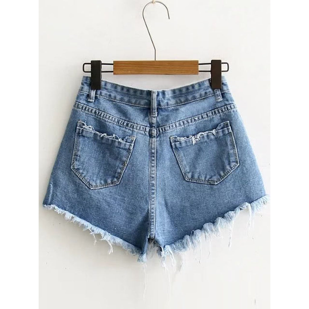 d25dc60329 Blue Raw Hem Denim Shorts | Anabella's