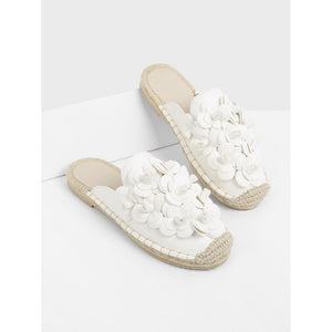 Floral Appliqued Cap Toe Flats White