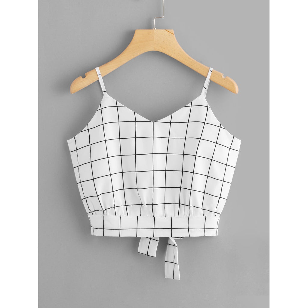 Checked Split Tie Back Crop Cami Top WHITE