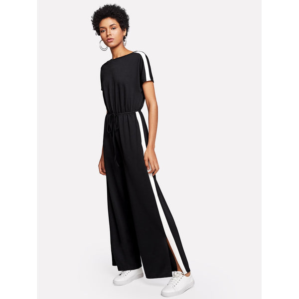 Contrast Panel Side Drawstring Waist Jumpsuit - Anabella's