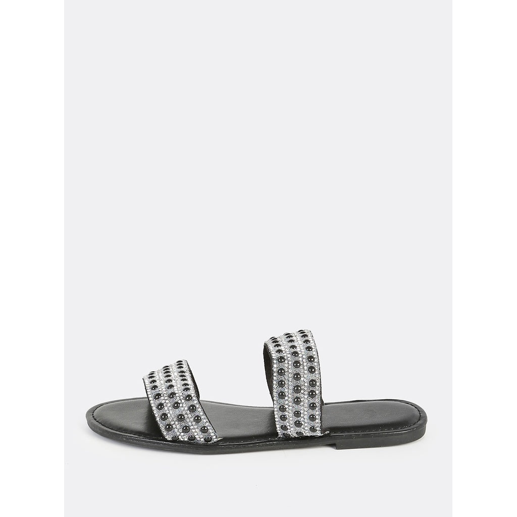 Beaded Double Band Slip Ons BLACK - Anabella's