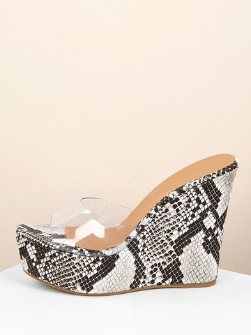 Clear Band Open Toe Platform Snakeskin Wedges