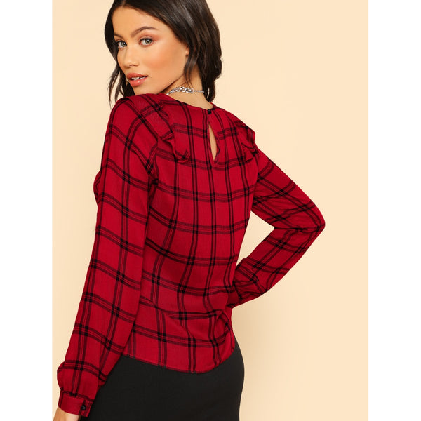 Ruffle Shoulder Grid Top RED
