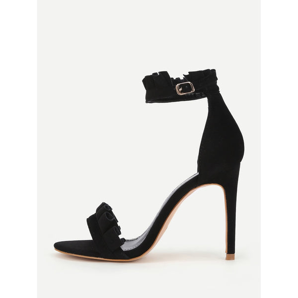 Pleated Trim Design Two Part Heeled Sandals - Anabella's