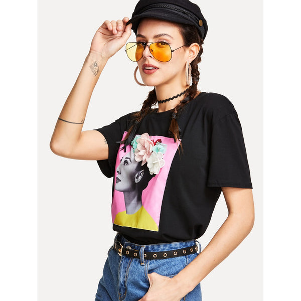 Flower Applique Graphic Tee - Anabella's
