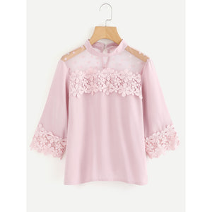 Flower Lace Trim Dot Blouse Pink