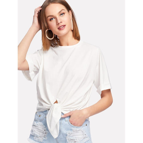 Self Tie Front Roll Cuff Tee
