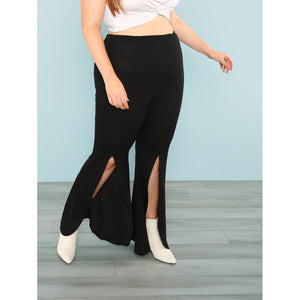 Plus Split Front Flared Pants