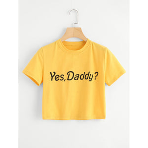 Letter Print Crop Tee YELLOW