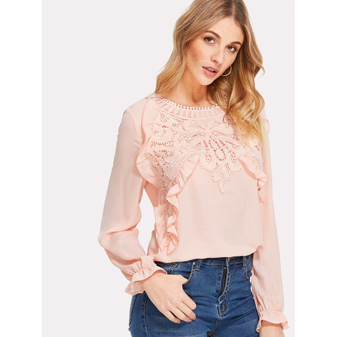 Ruffle And Guipure Lace Detail Top