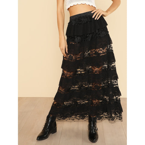 Pleated Ruffle Trim Lace Skirt