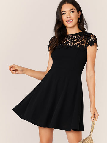 Guipure Lace Yoke Fit & Flare Dress
