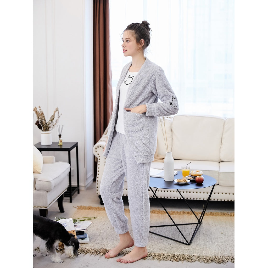 Cat Embroidered Plush Coat & Pants PJ Set