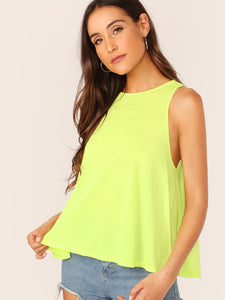 Neon Yellow Swing Hem Tank Top